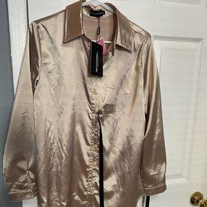 Champagne Satin Button shirt